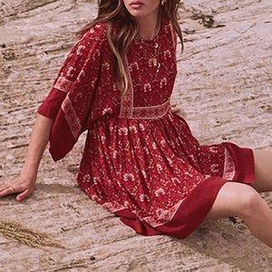 Jewel Tunic DRESS Copper Red Kimono Sleeve NEW
